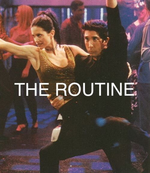 Friends tv show, Monica and Ross dancing the routine
