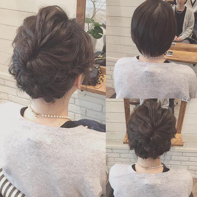 hairarrange* * 最近で一番短い長さのお客様 * 右上Before ショート(襟足2,3センチ) * #hairarrange #ヘアアレンジ #ヘアセット ...