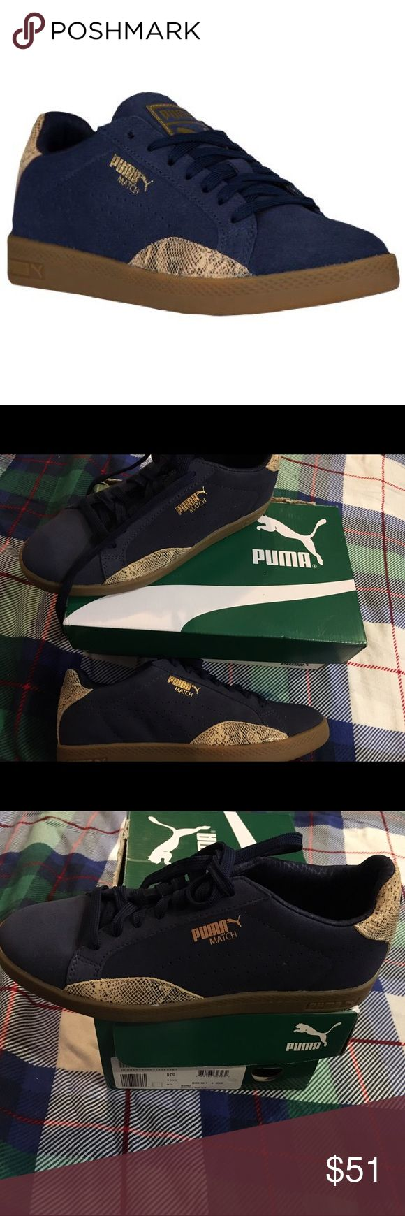 NIB pair of PUMA match-lo New in box, pair of women's puma's Match-lo in amazing color combo Peacoat/gold snake print. This classic style takes its cues from one of PUMA's original 1974 tennis collections. Size US 7 Leather upper. Rubber outsole. Puma Shoes