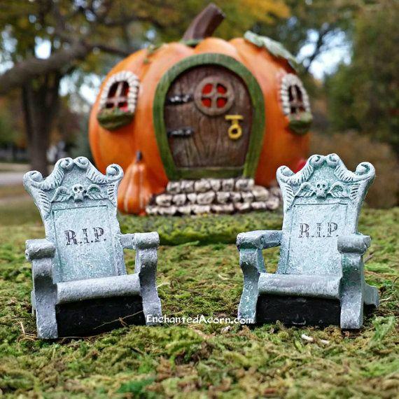 TINY Fairy Garden Halloween R.I.P.  Adirondack Chairs - Set of 2 Halloween Fairy Garden Accessories Fairy Furniture