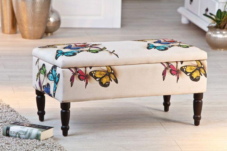 SOLDES - Banc de rangement 80x40 cm coloris blanc et motifs papillons - Banc & banquette - Chaise - SALON