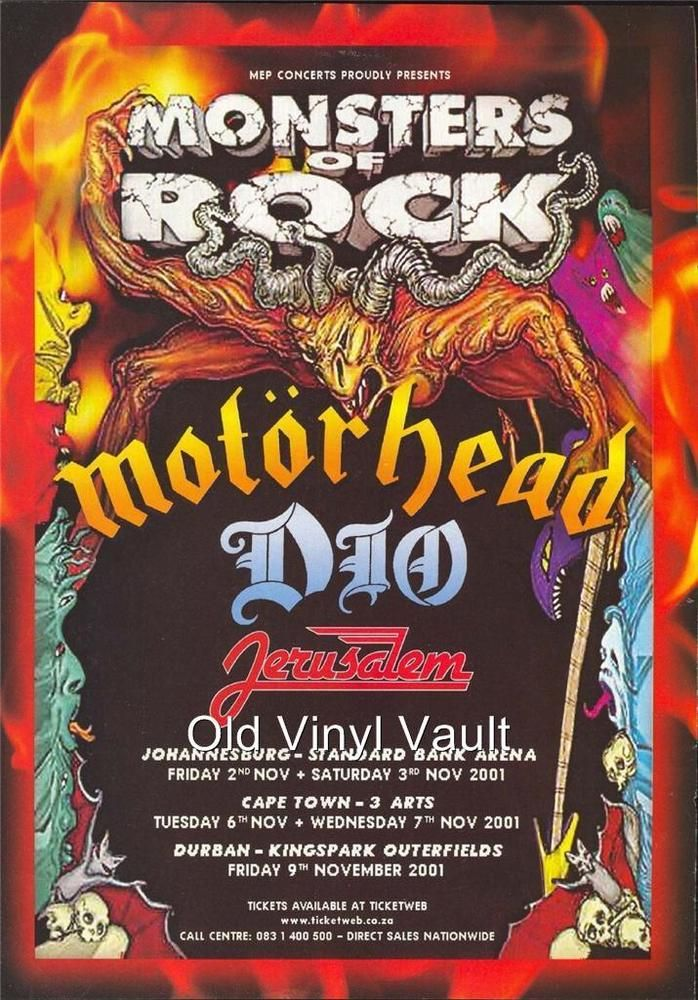 Motorhead South African Monsters Of Rock 2001 Concert Poster