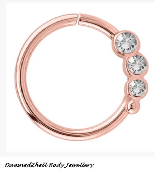 Rose Gold PVD Surgical Steel Continuous Daith Ring With Crystals ~ For Ear Piercings Daith and or Helix 1.2mm (16g) ~ Left Ear by Damned2hell on Etsy https://www.etsy.com/au/listing/466544394/rose-gold-pvd-surgical-steel-continuous