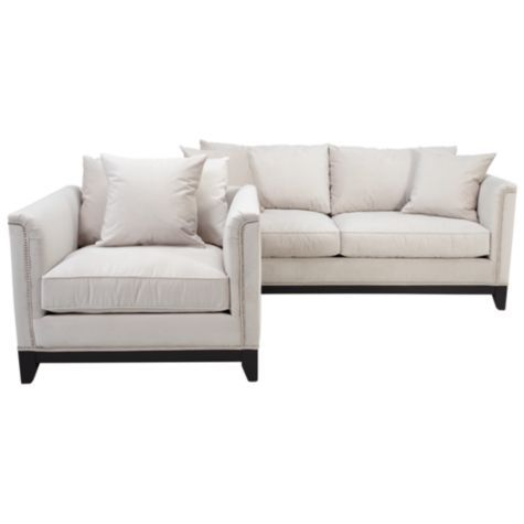 Chic Combo - Pauline Sofa #zgallerie I love this chic combo because it is very versatile and modern. I also love the silver studs that add a surprising element to the sofa and chair.