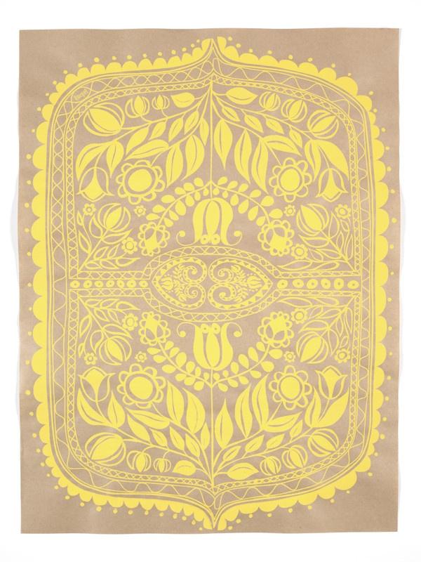 SILK SCREEN ART PRINT/ White print on recycled kraft paper. Hand silk