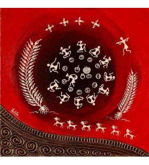 Dinner Time Warli Painting