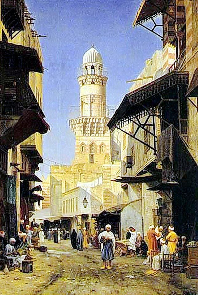 A Busy Street In Cairo By Peter Kornbeck - Danish , 1837-1894 Oil on canvas