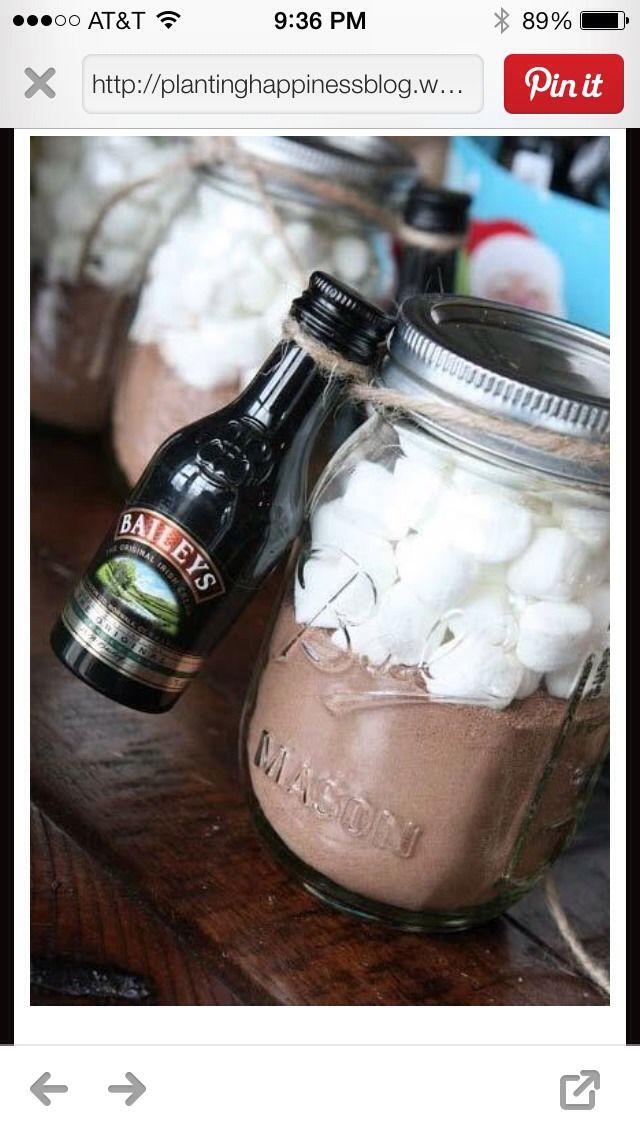 Hot Chocolate For Grown Ups  Ingredients: 3.5 oz Baileys Original Irish Cream. 1 Cup of Hot Chocolate..... Add Marshmallows ...Tah-Dah :o)