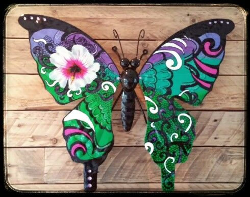 Vlinders metaal tuindecoratie bloem Www.creativeartbyjessica.nl