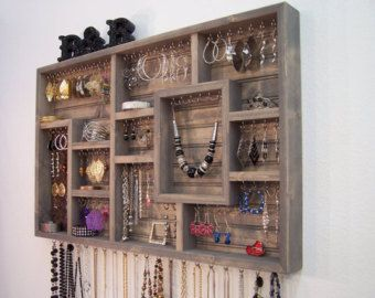 Jewelry Organizer For The Wall Display Your by barbwireandbarnwood