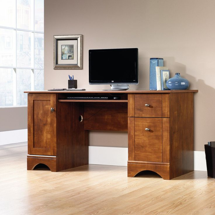 Sauder Select Computer Desk - The Sauder Select Computer Desk features contemporary design elements in a traditional finish of brushed maple. Incredibly versatile, the solid...