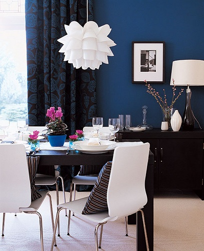 Navy blue dining room for the home pinterest for Dining room navy blue