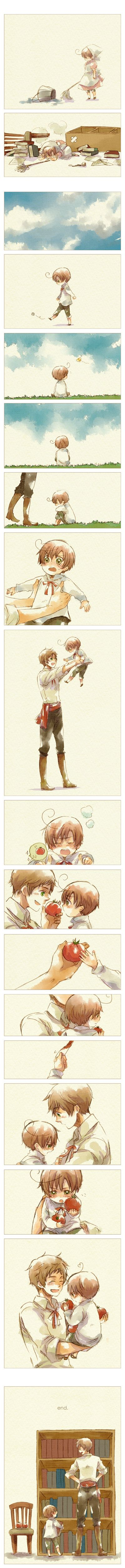 Cute fancomic featuring Romano and Spain (little Lovino and Antonio) - Art by Nori (peco) Hetalia :)