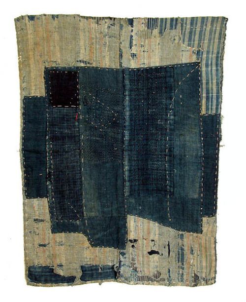 Japanese textiles: boro, futon cover, early 20th century. Indigo dye, sashiko stitch.