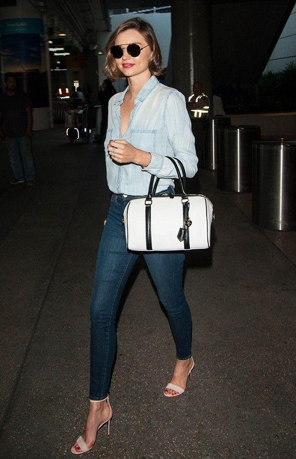 Miranda Kerr does denim on denim with a nude single strap heel