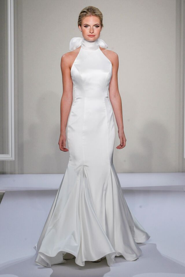 Ivory sleeveless stretch satin mermaid with organza high for Wedding dress boutiques in nyc