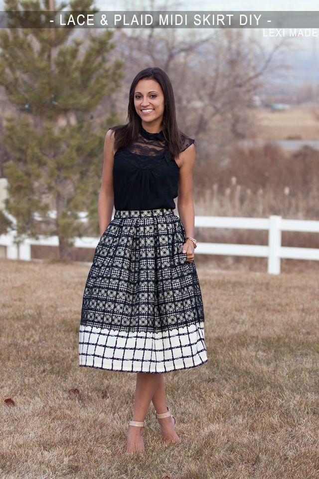 Lace & Plaid Midi Skirt DIY - with box pleats and side pockets! Its the perfect vintage meets modern skirt. LOVE