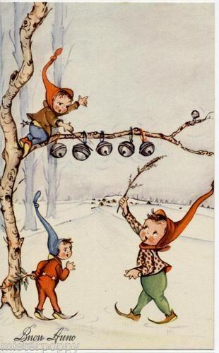 Christmas elves putting on the jingle bells.  Looks like a German illustration to me...