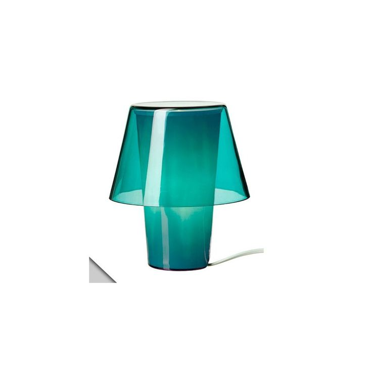 Ikea Gavik Table Lamp, Blue, Frosted Glass + Sparsam E12 Bulbs