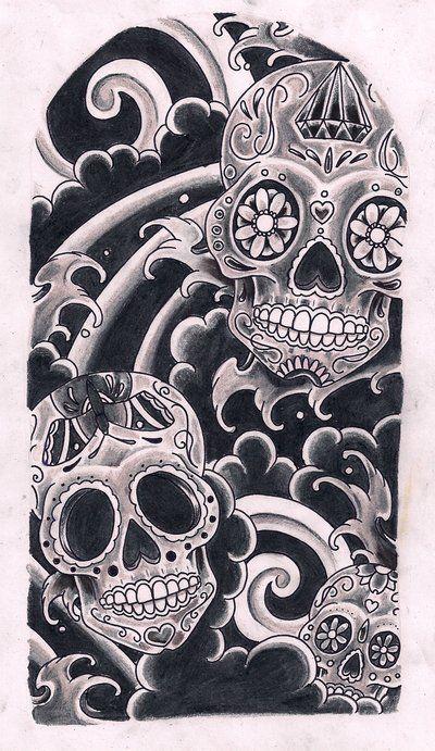 Sugar Skull Art   Sugar Skulls By Kirzten On Deviantart - Free Download Tattoo #8256 ...