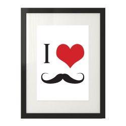 """Plakat na ścianę z grafiką czerwonego serca i wąsami """"I love mustache"""""""