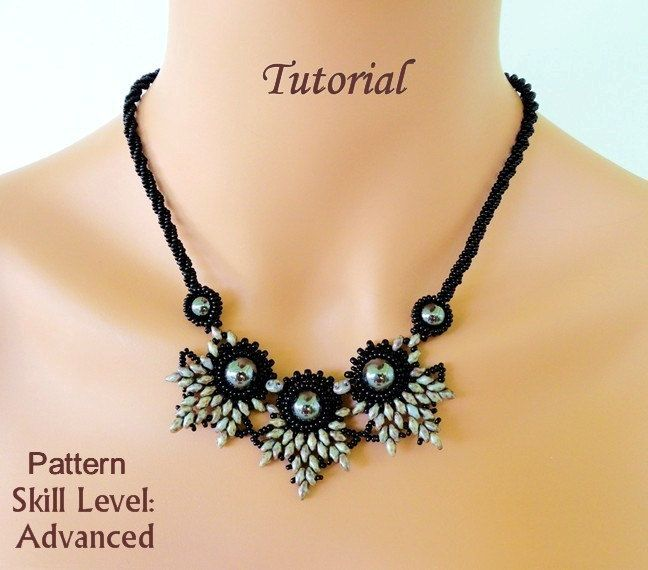 ELADVEN superduo beaded necklace beading by PeyoteBeadArt on Etsy