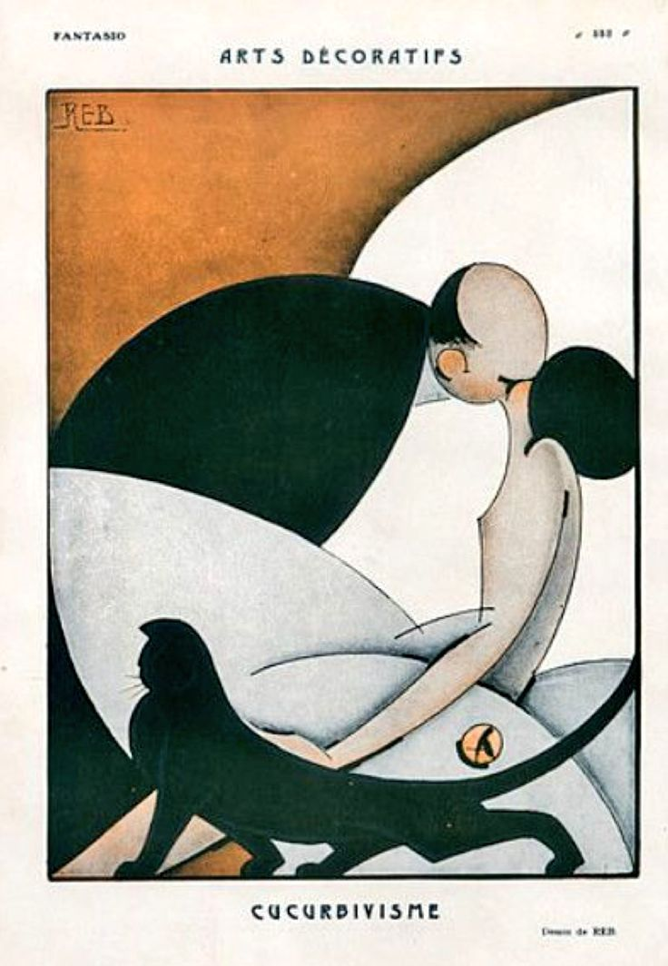 """The Kiss"", 1925 by Fantasio   Reb  (very art deco)"