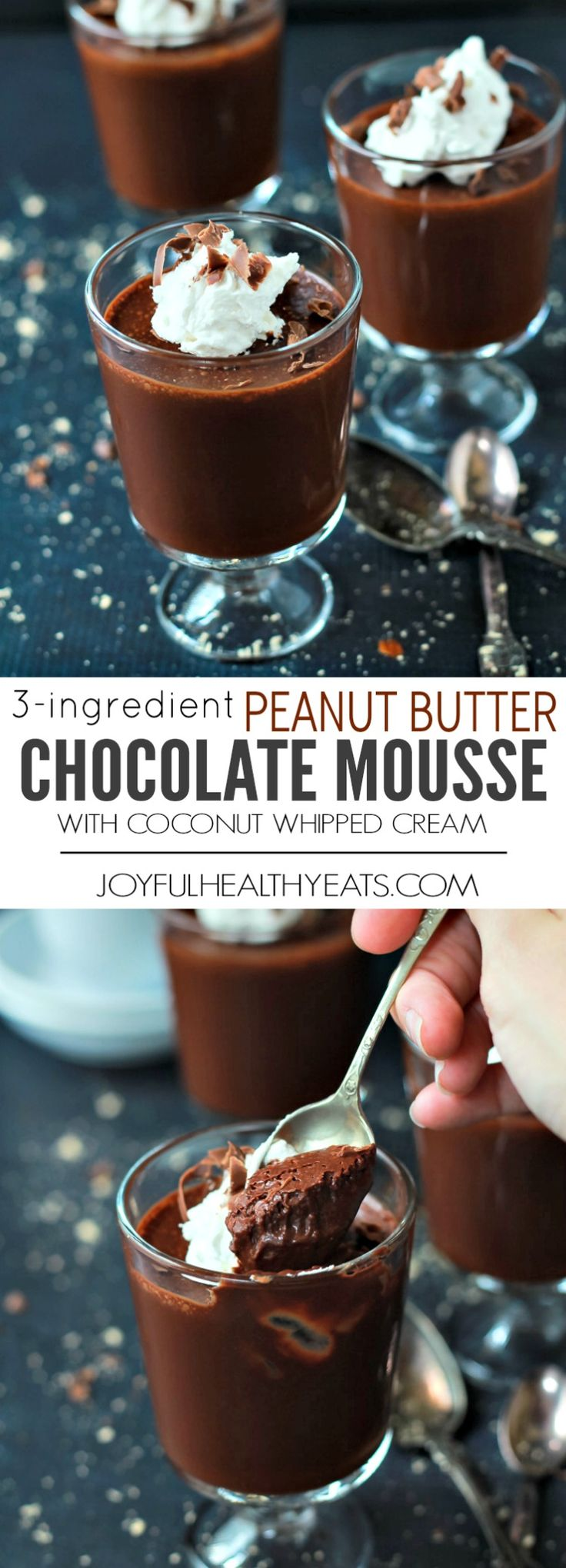 The easiest 3 ingredient Peanut Butter Chocolate Mousse you will ever make! This decadent Mousse is topped with homemade Coconut Whipped Cream to make absolutely perfection in a dessert! | joyfulhealthyeats.com #recipes #glutenfree #paleo