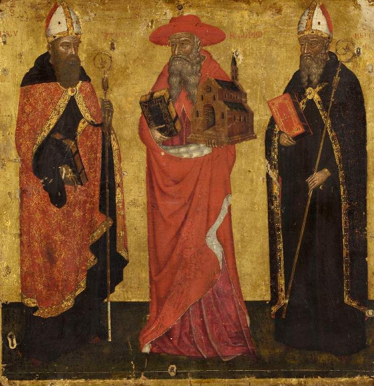 St Augustine, St Jerome and St Benedict // 14th/15th Century // Unknown painter // Venetian / Dalmatian School // Fitzwilliam Museum, Cambridge