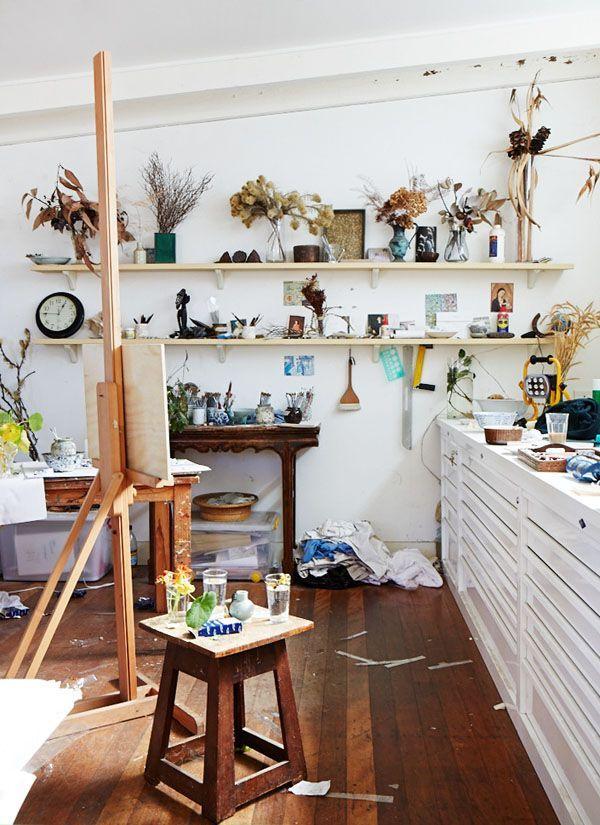 art room interior home studio draws shelving