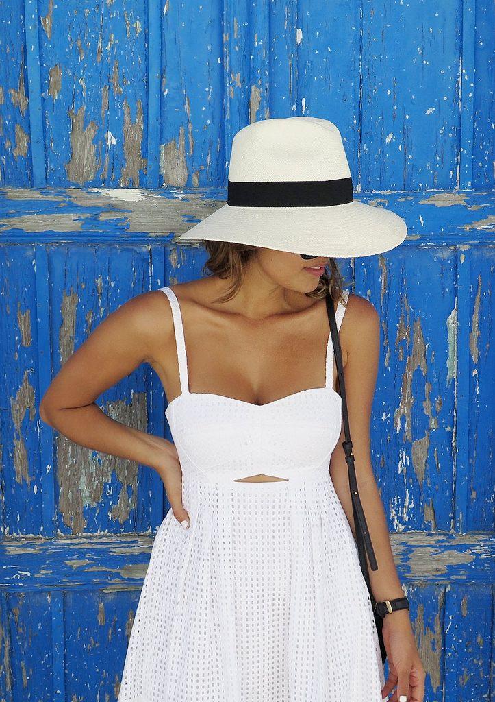 White eyelet + hat.
