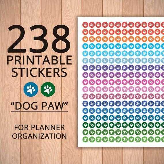 Stickers Planner Printable DOG PAW Stickers от ZebraDecor на Etsy