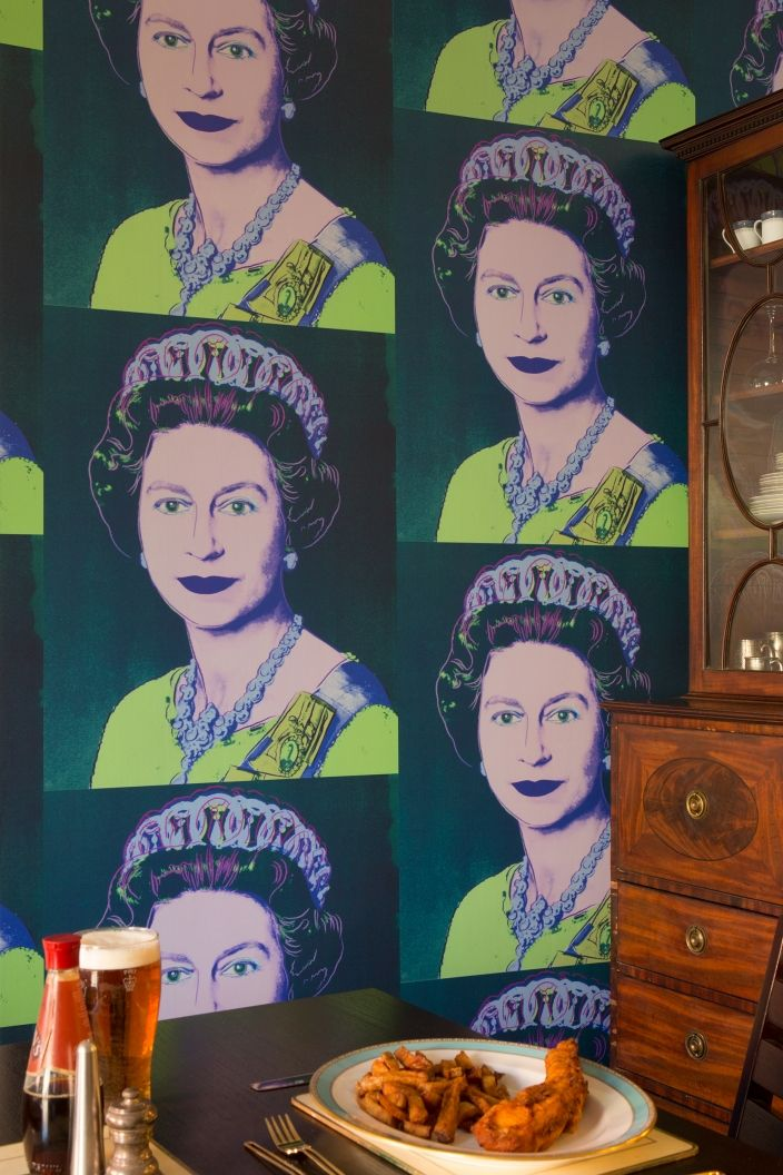 Queen Elizabeth #flavorpill #wallpaper  -- it's only $300 a roll.  No bfd!