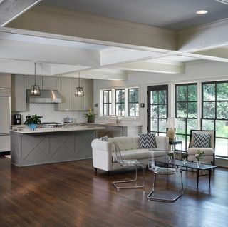 """..the coffers fit the scale of the large, open room and create continuity between the kitchen space and the family room space."" Great ceiling.Cabinets with X ""cross"" ?"