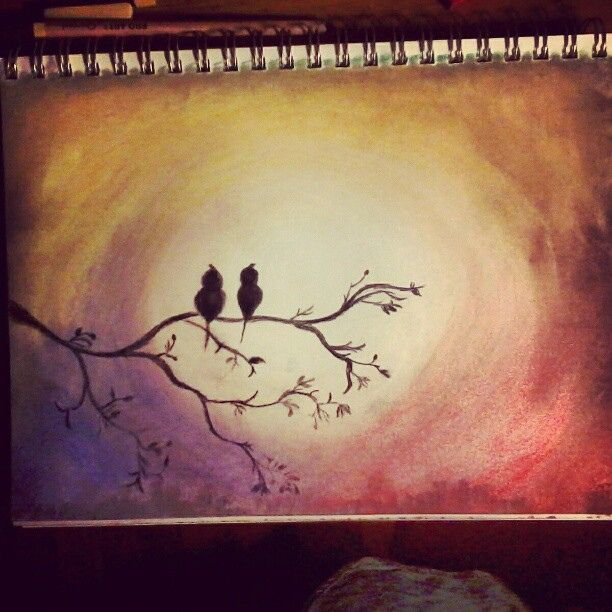 Beautiful tree, bird, and sunset chalk pastel drawing