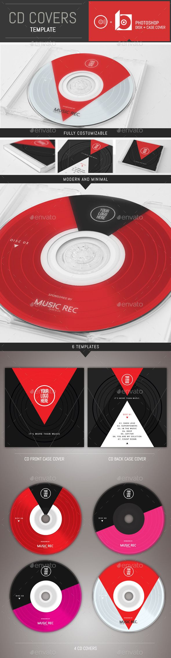 Minimal Music CD Cover Template - CD & DVD Artwork Print Templates