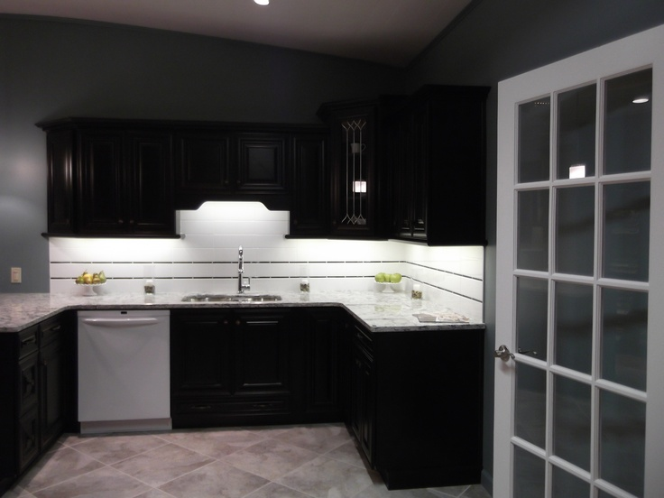 Chocolate Brown Kitchen Cabinets And White Backsplash
