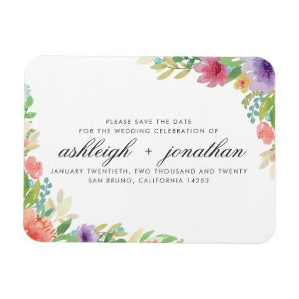 Watercolor Flowers & Typography   Save The Date Magnet - rustic style country natural diy customize personalize
