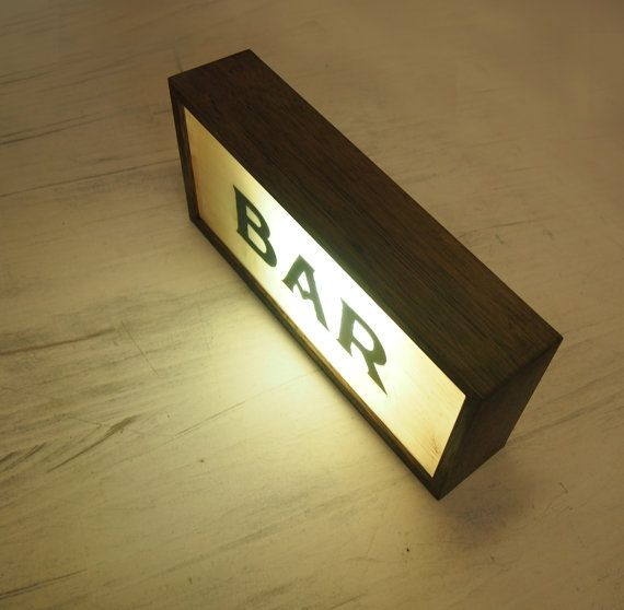 "New Hand-Painted ""BAR"" Vintage Lightbox Sign / Illuminated Sign / Wall / Table Lamp / Night Light / Industrial / Rustic on Recycled Plastic"