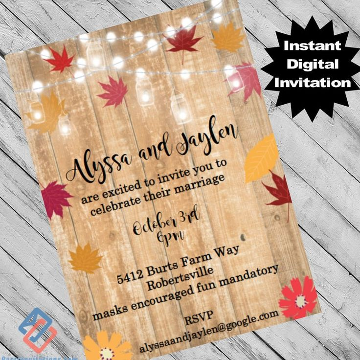 Fall Harvest Wedding invitation Fall leaves falling in