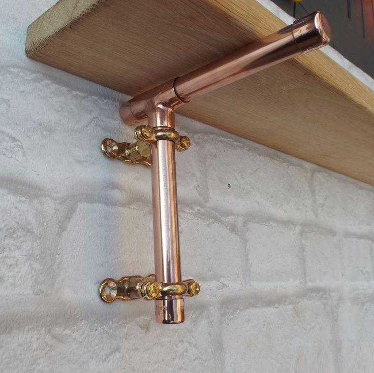 Handcrafted Copper Pipe Shelf Brackets (2 Brackets and Fixings). All are made from 15mm pipe and fittings. 14cm x 14cm Size shown in picture. Supplied with the Brass Fixings that are shown, and also screws and wall plugs. | eBay!