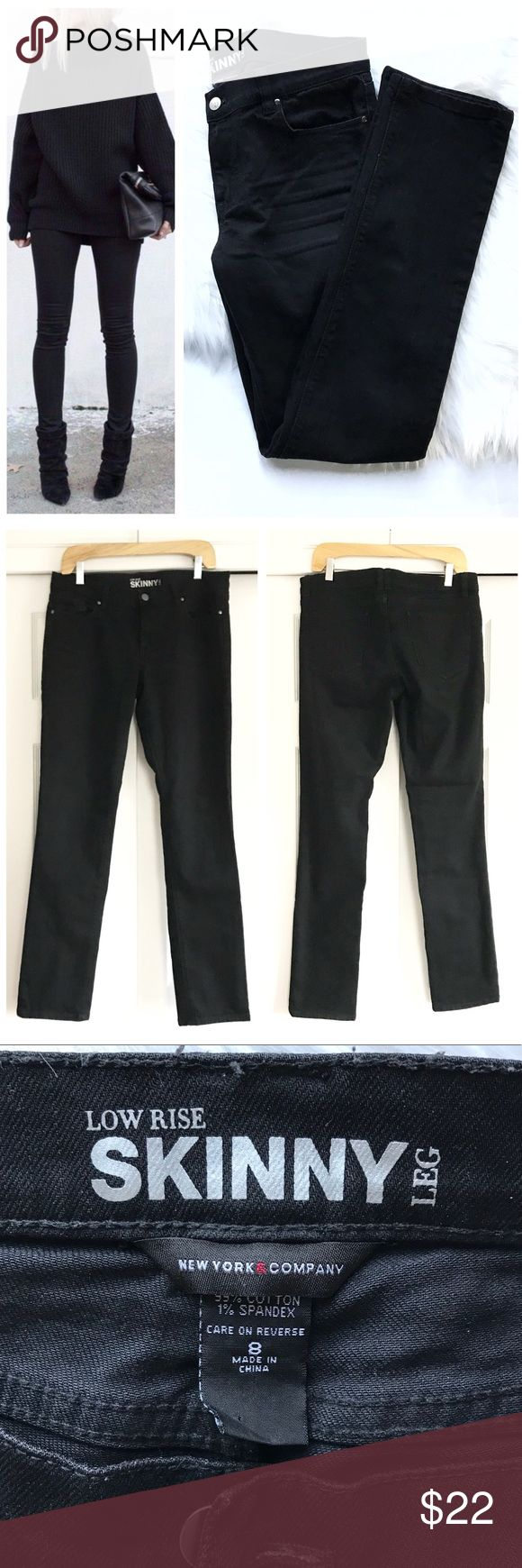 """NY & Co Black Skinny Jeans Black jeans with a little fade at whispers. front and back pockets. New York and Company skinny leg low rise size 8. 99% cotton 1% spandex. Inseam approx 31"""". First photo on left not actual item just showing for styling inspiration! New York & Company Jeans Skinny"""