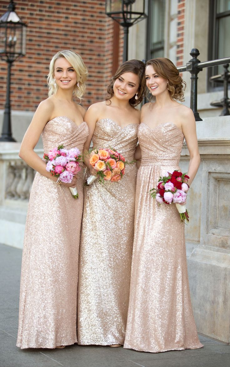 fall bridal party pictures%0A Sequin bridesmaid gowns are a must have