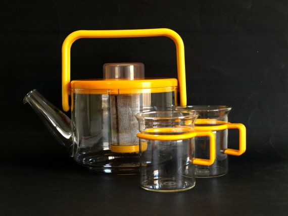 Bodum Bistro Teapot Set in Canary Yellow  Vintage by FunkyKoala