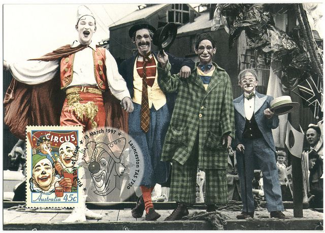 """""""Chooky"""" Phillips, Gary Grant, Don Grant and Harold. 150th Anniversary of Circus in Australia. Clowns 1950, Wirth's Circus (Performing Arts Museum. Melbourne)_Australia Post by Performing Arts / Artes Escénicas, via Flickr"""
