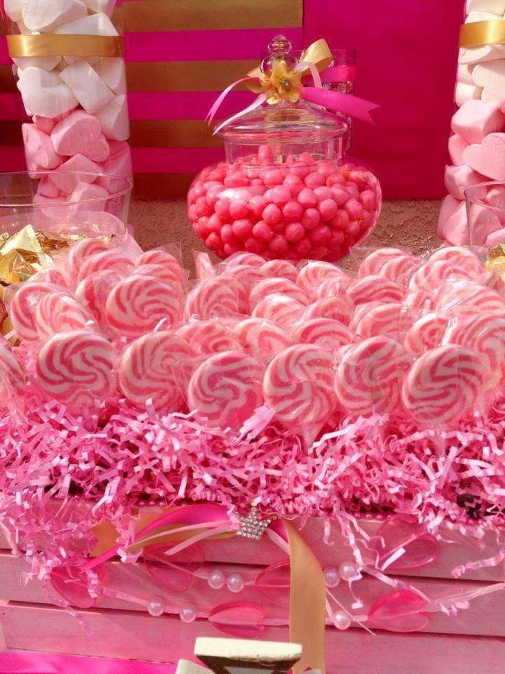 wedding shower candy buffet ideas%0A Pink  u     Gold Birthday Party Ideas
