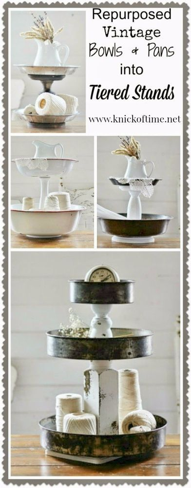 [d]Get more storage space by going UP! I never seem to have enough storage or space on my counters, so I began creating tiered stands from a variety of vintage…