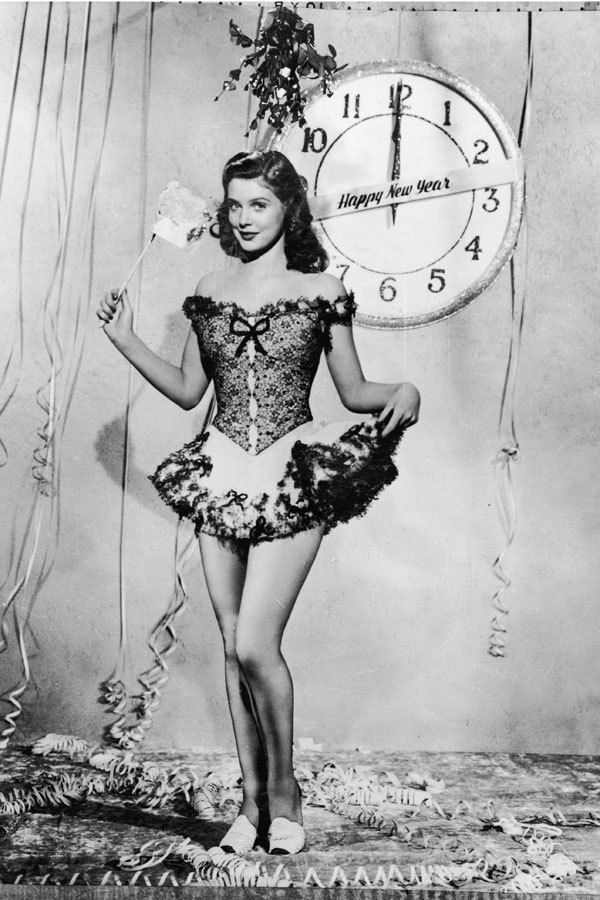New Year Pin Up Girl...clock and champagne...