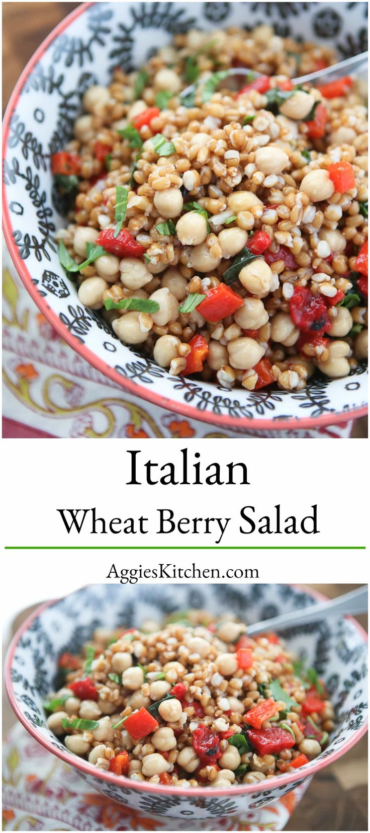 This Italian Wheat Berry Salad is simple, fresh and full of delicious flavor, protein and fiber. Perfect for picnics or barbecues! via @aggieskitchen