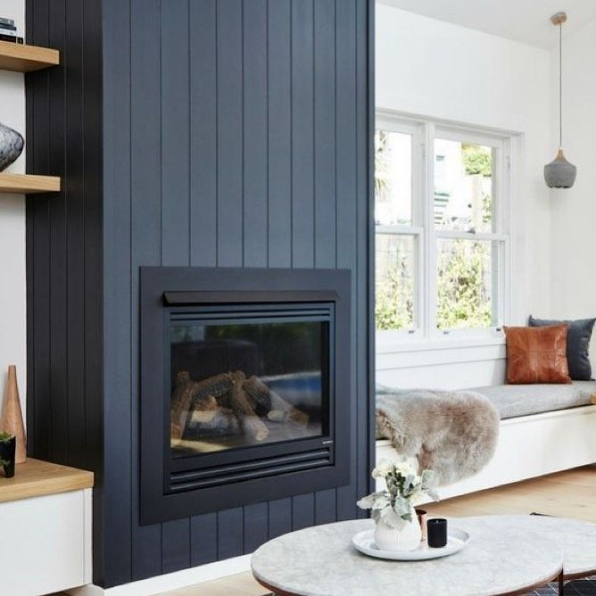 Vertical Navy Ship Lap And A Bench Seat With Fur What Else Could One Need I Love Officialmetrie Pre Fab Shiplap Its Crisp And Clean And Home Fireplace Home